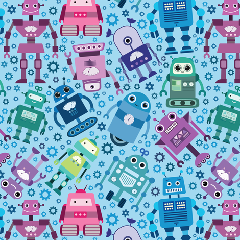 I Love Robots fabric by maribiscuits on Spoonflower - custom fabric