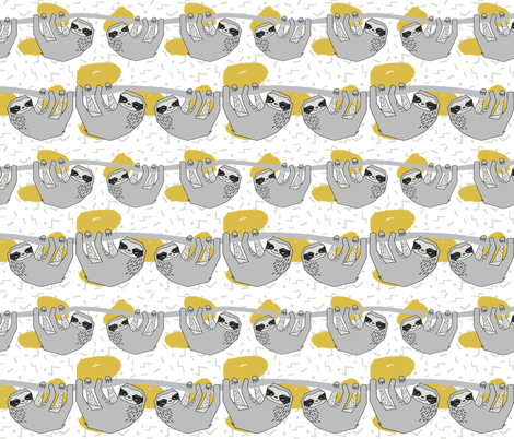 Geo Sloth - Mustard by Andrea Lauren  fabric by andrea_lauren on Spoonflower - custom fabric
