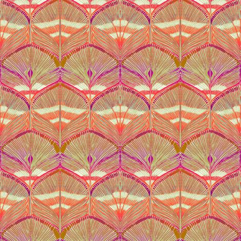 pheasant scallop red fabric by keweenawchris on Spoonflower - custom fabric