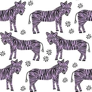 Safari Zebra - Wisteria Purple on White by Andrea Lauren