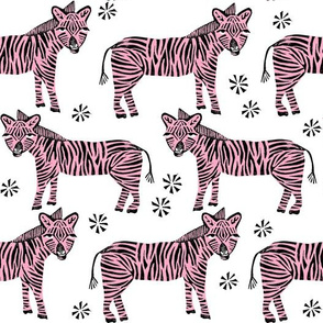 Safari Zebra - Bubblegum Pink on White by Andrea Lauren