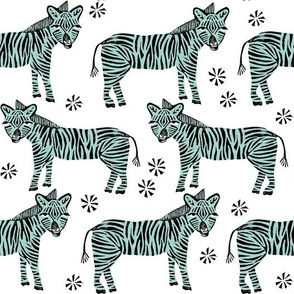 Safari Zebra - Mint on White by Andrea Lauren