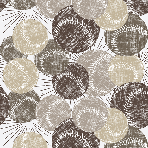 Baseballs - Linen fabric by owlandchickadee on Spoonflower - custom fabric