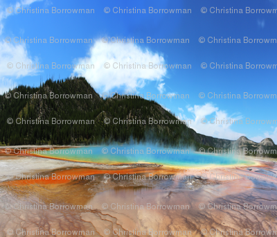 Yellowstone - Grand Prismatic Spring on Fat Quarter