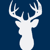 Deer Silhouette in White on Navy