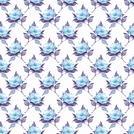 Blue flowers 4 fabric by gribanessa on Spoonflower - custom fabric