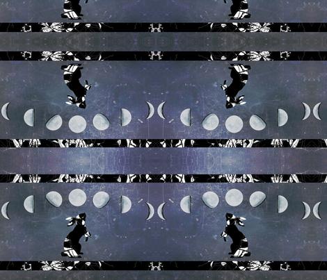 Moon Rabbit no Border fabric by featheralchemist on Spoonflower - custom fabric