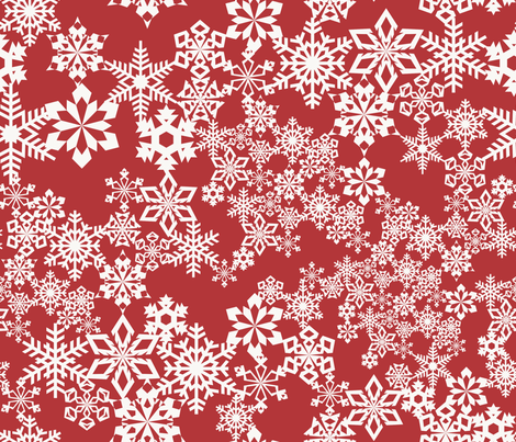 Snowflakes Red fabric by kimsa on Spoonflower - custom fabric
