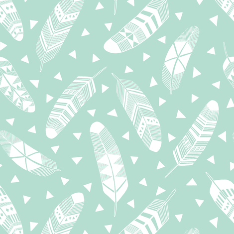 Feathers - White Mint fabric by kimsa on Spoonflower - custom fabric