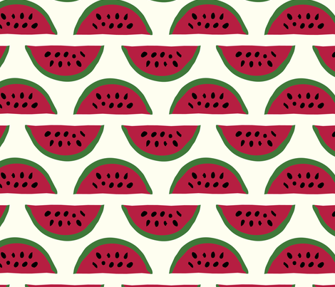 Red watermelon stripes fabric by theprocrastinatrix on Spoonflower - custom fabric