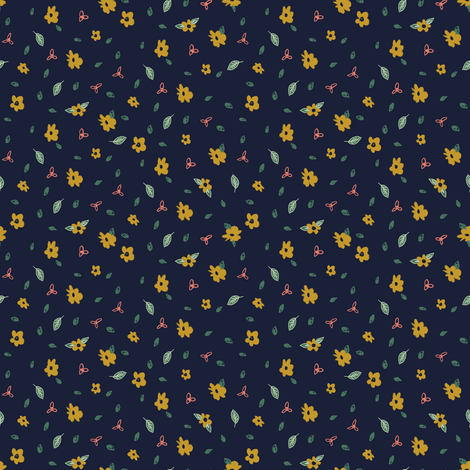 Pencil floral - Navy & Gold fabric by crumpetsandcrabsticks on Spoonflower - custom fabric