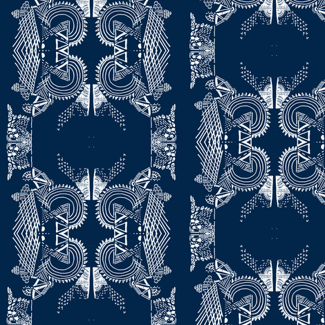 Damask doodle navy fabric by arrpdesign on Spoonflower - custom fabric