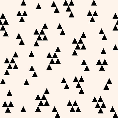 simple triangle // cream and black kids baby nursery simple triangles fabric by andrea_lauren on Spoonflower - custom fabric