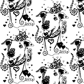 Greyhound Love Swirls Hearts Black White