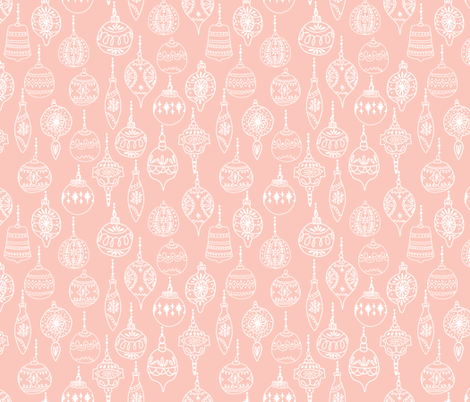 ornaments // pink christmas holiday vintage christmas tree  fabric by andrea_lauren on Spoonflower - custom fabric