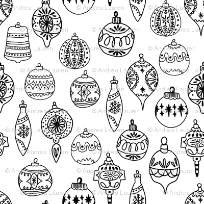 Ornaments Black And White Ornaments Holiday Christmas Tree