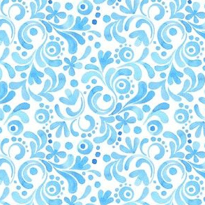 Abstract floral watercolor pattern. Blue