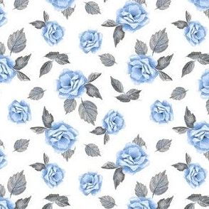 Floral pattern. Blue flowers