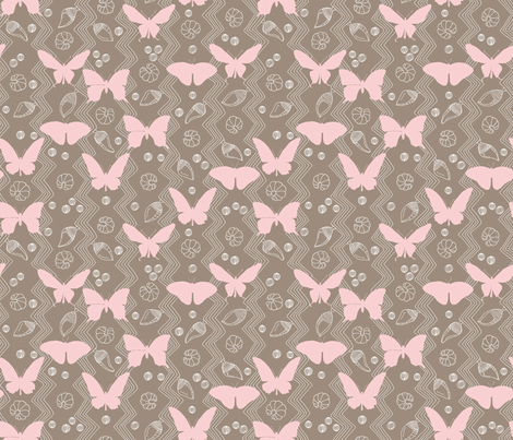 Butterfly Life Cycle Pink and Brown fabric by marketa_stengl on Spoonflower - custom fabric