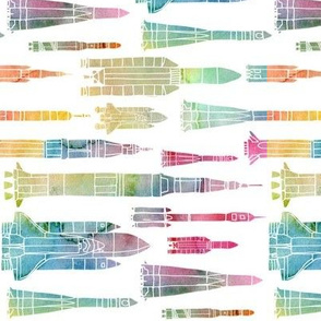 Watercolour Rockets - rainbow - rotated