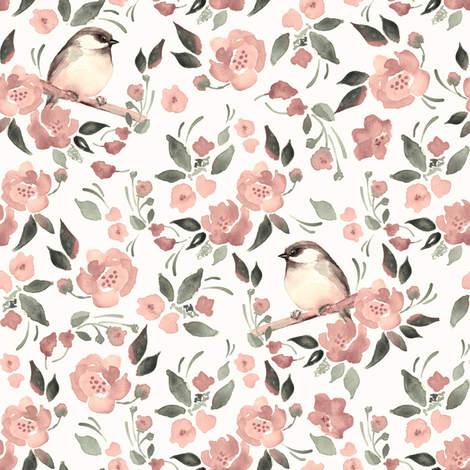 Flowers and birds fabric by gribanessa on Spoonflower - custom fabric