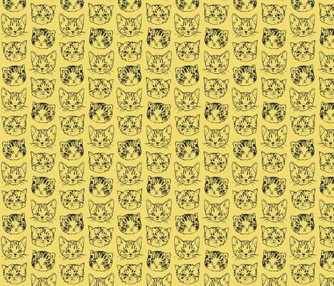 Cute Cats | Mustard Yellow fabric by imaginaryanimal on Spoonflower - custom fabric