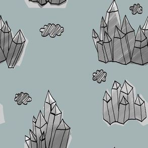 Crystal Mountains on grey