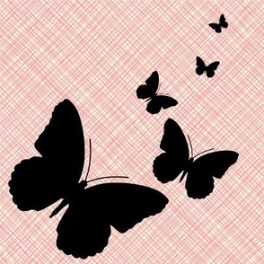 Black and Pink Sketchy Butterflies