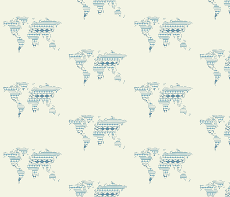 Tribal world map pattern fabric alchemyhome spoonflower tribal world map pattern fabric by alchemyhome on spoonflower custom fabric gumiabroncs Image collections