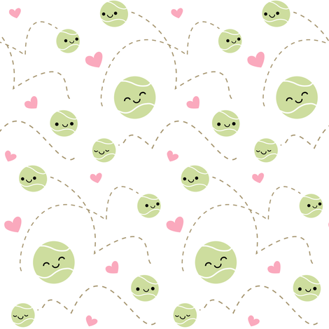 Happy Tennis Balls  fabric by clayvision on Spoonflower - custom fabric