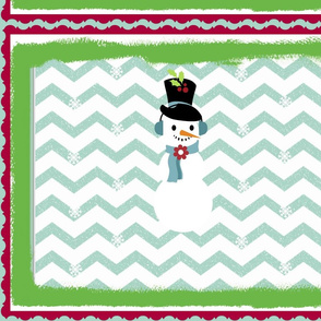 Chevron Frosty Seafoam large -framed