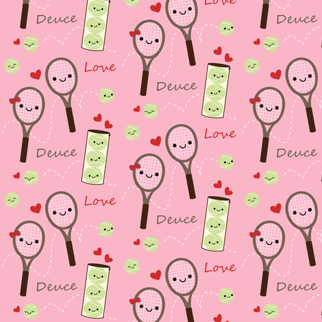 Happy Tennis - Pink fabric by clayvision on Spoonflower - custom fabric