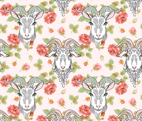 Goats & roses fabric by designed_by_debby on Spoonflower - custom fabric