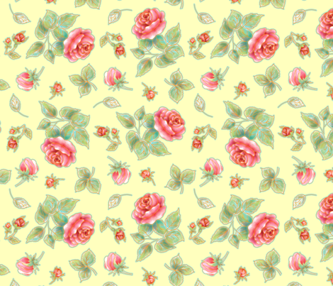 Soft red roses on yellow fabric by designed_by_debby on Spoonflower - custom fabric