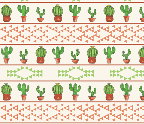 Striped Cacti in Green and Orange fabric by bella_modiste on Spoonflower - custom fabric