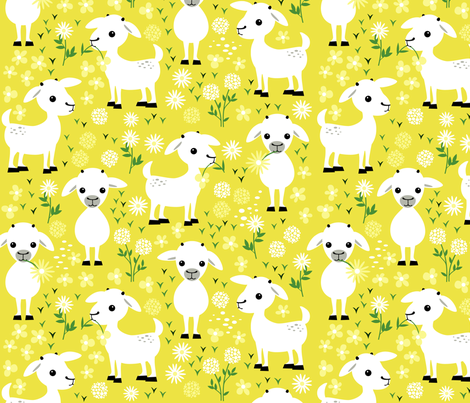 Baby goats fabric by heleenvanbuul on Spoonflower - custom fabric