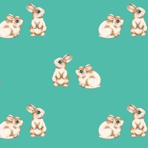 Easter Bunnies Brown Spots on Turquoise