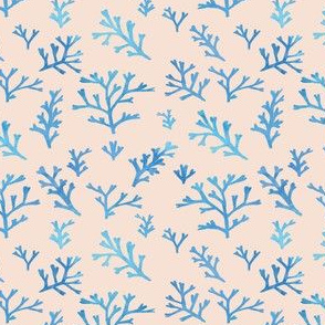 Seaweed Branches Blue Watercolour on Peach