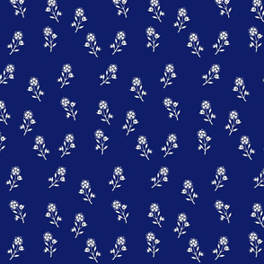 White Flowers on Navy