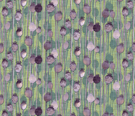 Poppy Heads, heather and sage fabric by spellstone on Spoonflower - custom fabric