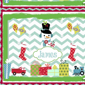 Frosty Holiday Quilt LG-personalzied sea/coolock
