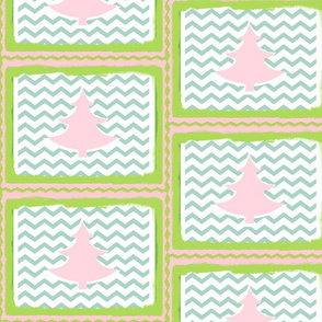 Chevron SMALL Pink Tree Quilt