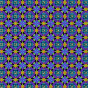 Harlequin pattern, purple and lime