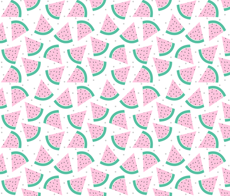 Pastel Watermelon with Grey confetti fabric by sylviaoh on Spoonflower - custom fabric