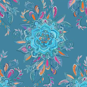 Teal Watercolor Floral Medallions
