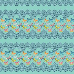 Blue Double Edge Lace Flutterbys