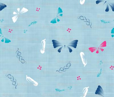 Doux papillons bleu brume