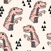 dinosaurs // pink dino dinos dinosaurs prehistoric kids dinos trex t-rex tyrannosaurus rex fabric