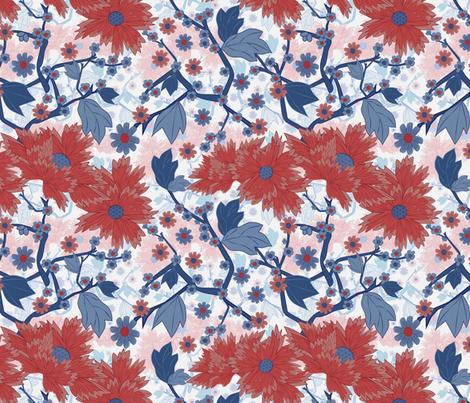 Japanese garden red floral fabric by kociara on Spoonflower - custom fabric