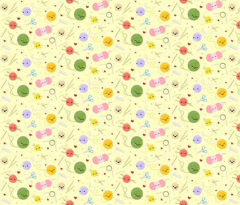 Happy Knitting Friends - Yellow fabric by clayvision on Spoonflower - custom fabric